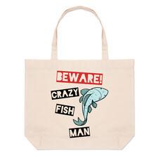 Ten cuidado con los peces Loco Hombre Bolsón Bolso de Playa Grande-animales graciosos Hombro Shopper