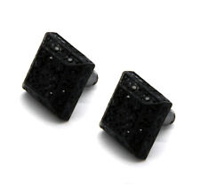 Men Black Finished 13mm M 3D Cube Square Block Lab Cz Studs Stud Earring