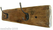 45cm rustic farmhouse waxed solid plank wood & iron 2 hook coat hooks