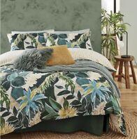 🌿 JUNGLE LEAF PRINT TROPICAL DESIGN GREEN Duvet Cover Reversible KING BED SET