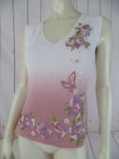 Aris A Top L Pullover Stretch Rayon Nylon Sleeveless Ombre Cream Muave Beads New