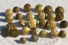 WW1 / WW2 NAVAL / MERCHANT NAVY BRASS BUTTONS 5 x TYPES + BROOCH - LOT 12