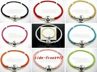 20PCS/Lot Fashion mixed Silver Plated Clip Leather European Bracelets 19cm, 21cm