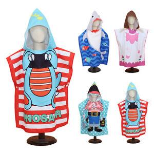 3-7 Years Soft Kids Children Hooded Towel Swim Beach Bath Towel Pool Cover Up