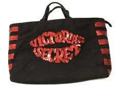 NEW! Victoria's Secret Weekender Duffel Beach Bag Black Canvas Red Sequins NEW