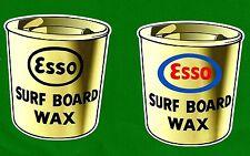 2 X ESSO SURFBOARD WAX Vintage RETRO Sticker Decal 1970s LONGBOARD SURFER SKATE
