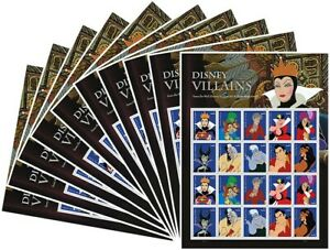 Villains 10 Sheets of 20 Forever USPS First Class one Ounce Postage Stamps