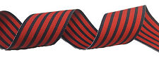 """1.5"""" Navy & Red Stripe GROSGRAIN RIBBON 1-1/2"""" 5 YARDS Woven Bows Craft"""