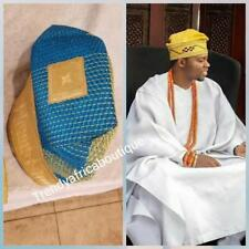 Turquoise blue Nigerian Tradional wedding accessories: Agbada embriodered men-ca