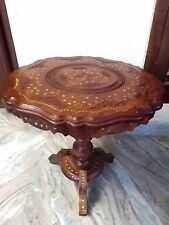 "21"" Round Table w Inlaid Brass Work Hand Carved Coffee Round Table Foldable Home"