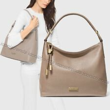 NWT 🌼 Michael Kors Lexington Large Leather Shoulder Bag Truffle Taupe Gold