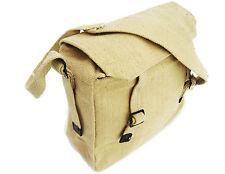 ARMY HAVERSACK tough vintage canvas shoulder bag college uni satchel sand beige