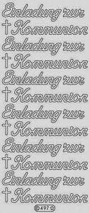 4x Bogen Sticker Stickerbogen    Silber    -   Einladung zur Kommunion