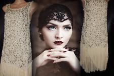 TOPSHOP Vintage Gatsby Flapper Dress 20's Downton Beaded Nude Art Deco 8 36 US 4
