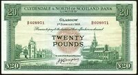 1958 CLYDESDALE & NORTH OF SCOTLAND BANK LIMITED £20 BANKNOTE * B 028971 * aVF *