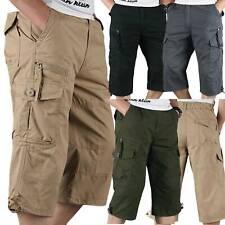 Hombre 3/4 Largo Pantalones Cortos Cintura Elástica Cargo Militar Tres Cuartos
