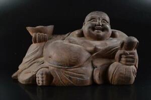 L2972: Japanese Wooden HOTEI STATUE sculpture Ornament Figurines Buddhist art