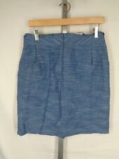 J Crew Skirt Size 8 Blue Heathered Playa Linen Cotton 42875 New
