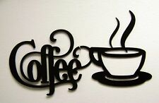 Black Coffee Sign With Mug 12 X 6 Metal Kitchen Bistro Wall Decor Aluminum