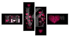 Grande amore cuori DEEP PINK IN TELA NERA WALL ART PICTURE SPLIT 146cm Wide