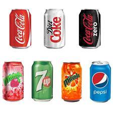24 x 330ml Cans Soft Drinks 7up Coke Pepsi Mirinda Strawberry Orange
