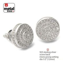 Men's Bling Hip Hop 925 Silver 3D Round Screw Back Stud Micro Pave Earrings 454S