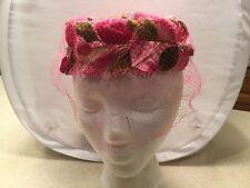 Ladies Vintage Hat Shiny Pink W/ Dark & Light Pink Petals Flower Church Veil