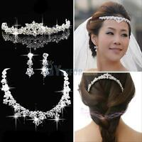 Bridal Wedding Party Prom Jewelry Set Crystal Rhinestone Necklace Earrings Tiara