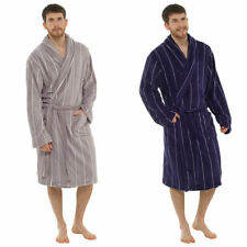 Foxbury Mens Shaggy Fleece Hooded Dressing Gown with Contrast Lapel Blue or Black