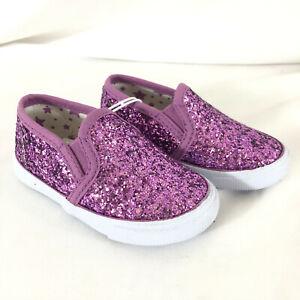 Cat & Jack Toddler Girls Madigan Glitter Slip On Sneakers Sparkle Purple 5