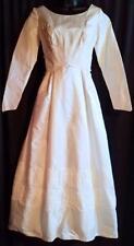 Vintage Mod 50s Off-White Ivory Taffeta Lace Pleated Wedding Dress ~ S