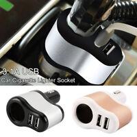 3 in1 Way Car Cigarette Lighter Socket Splitter 2 USB Power Charger Adapter UK