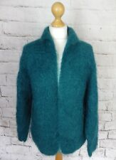 "Vintage teal green mohair blend 14 bust 42"" cardigan fluffy fuzzy collar blogger"