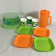 Tuppertoys Tupperware Modern Jug Cups Plates Cake Server 11pc Set Orange Green