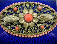 Antique Brooch pin Filigree gilt metal Coral glass stones Fantastic Circa1925