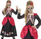Infantil Halloween LUJO DÍA DE LOS MUERTOS Niña Disfraz Smiffys NUEVO