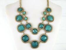 New QVC Multi Strand Faceted Square Cabochon Statement Necklace Teal Blue Green