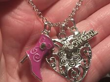 "Western Cowgirl Pink Boot Heart Dallas Charm Tibetan Silver 18"" Necklace"