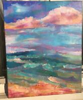 EMERALD OCEAN Original Acrylic Abstract Landscape Painting 16x20 Canvas Beach NR