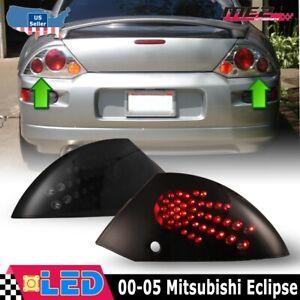 Fits 00-05 Mitsubishi Eclipse Pair LED Brake Tail Lights Black Smoke Lens Set
