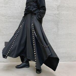 Gothic Mens Studs Straps Wide Leg Harem Loose Retro Long Pants Skirt Trousers UK