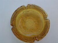 "Amber Glass Ashtray Anchor Hocking Bird's Nest Swirl 6"""
