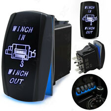 BLUE LED LIGHT MOMENTARY ROCKER SWITCH LASER ETCHED 20A 12V -24V WINCH POWER