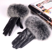 Women's Real Fox Fur with Leather Winter Warm Touch Screen Lambskin gloves