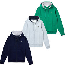 Men Lacoste Hoodie Full Zip Fleece Sweatshirt with Pockets Lacoste Sport NEW