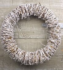 GISELA GRAHAM CHRISTMAS ROUND TWIG WREAT WITH FROSTING d33cm