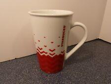 STARBUCKS White Mug Red Pattern Large 22 oz. Size MINT