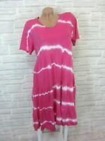 Hippie Blogger Hängerchen Kleid Tunika Batik Print 36 38 40 42 Pink K363 Italy