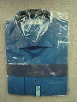 New Marks and Spencer Pure Cotton Short Sleeve Dark Blue Men's Medium Shirt 15.5