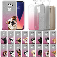 "For LG V30 V30+ Plus 6"" VS996 H932 US998 Dog Cat Two Tone Glitter TPU Cover Case"